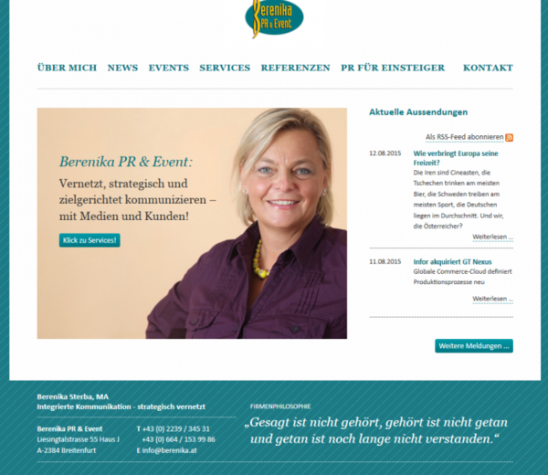 Website für Berenika PR & Event